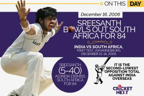 On This Day, December 16 2006: Sensational Sreesanth Bowls South Africa Out for 84 in Johannesburg