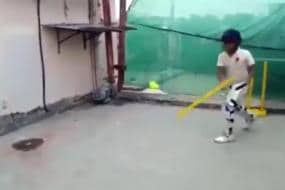 WATCH - Kid Bats With One Stump, Manages to Middle Every Ball