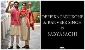 Deepika-Ranveer Flaunt the Perfect Post-wedding Ensemble by Sabyasachi & We are Stunned