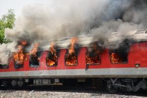 PHOTOS| AP Superfast AC Express Catches Fire Near Gwalior