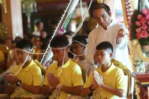 Rescued Thai Soccer Boys Pray for Fortune at Temple