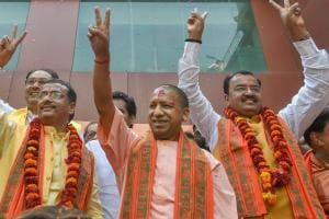 UP CM Yogi Adityanath Celebrates BJP's Victory in Lucknow