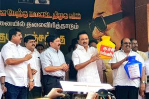 DMK Chief MK Stalin Leads Protest Against Water Crisis in Tamil Nadu