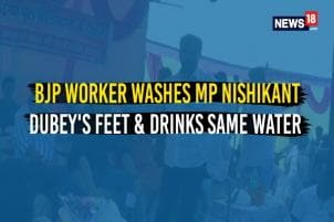 BJP Worker Washes MP Nishikant Dubey's Feet & Drinks Same Water