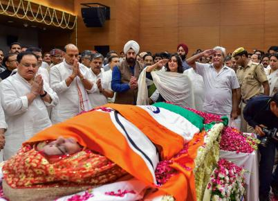 Sushma Swaraj Funeral Pictures: Politicians Pay Teary Homage