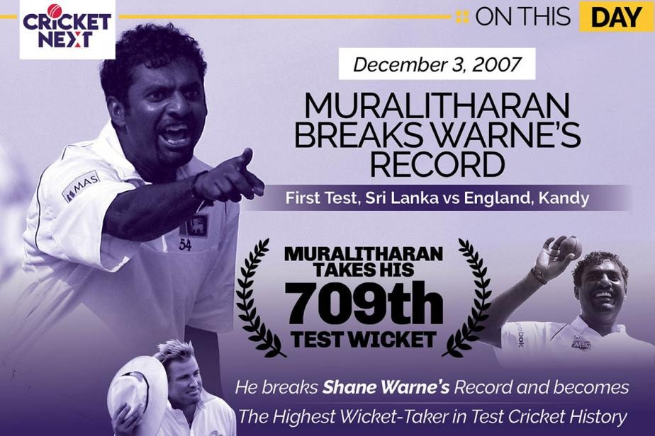 On This Day -  December 3, 2007: Muralitharan Becomes Highest Wicket-taker in Tests