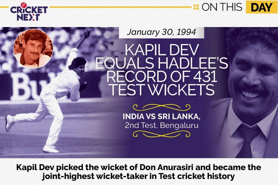On This Day - January 30, 1994 - Kapil Dev Equaled Richard Hadlee's Record of 431 Test Wickets