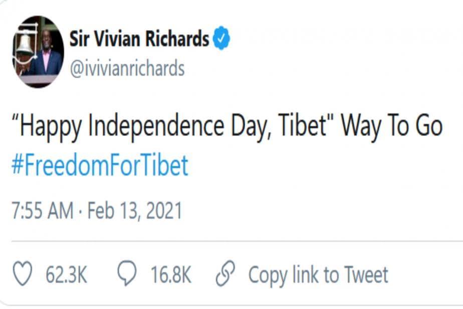 'Happy Independence Day, Tibet': Viv Richards Backs Tibet's Freedom Movement