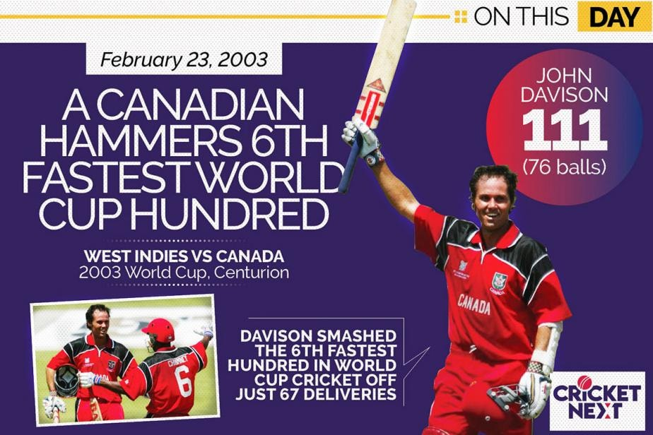 On This Day - February 23, 2003: A Canadian Smashes 6th Fastest World Cup Hundred