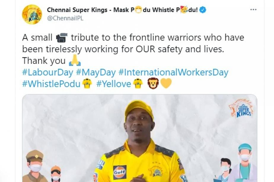 IPL 2021: Chennai Super Kings Pay Tribute to Frontline Workers on Labour Day