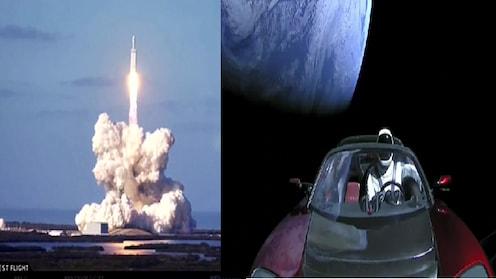 स्पेस एक्सनं अंतराळात सोडलं महाकाय रॉकेट; रॉकेटमधून टेस्लाची इलेक्ट्रिक कारही झेपावली