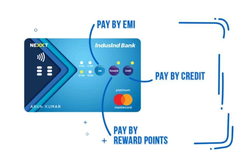 इंडसइंड बँकेच्या Nexxt क्रडिट कार्डमध्ये दिलेली सुविधा ग्राहकांसाठी फार सोयीची आहे. पेमेंटच्या तीन पर्यायांसाठी कार्डाला LED लाईट लावण्यात आलं आहे.