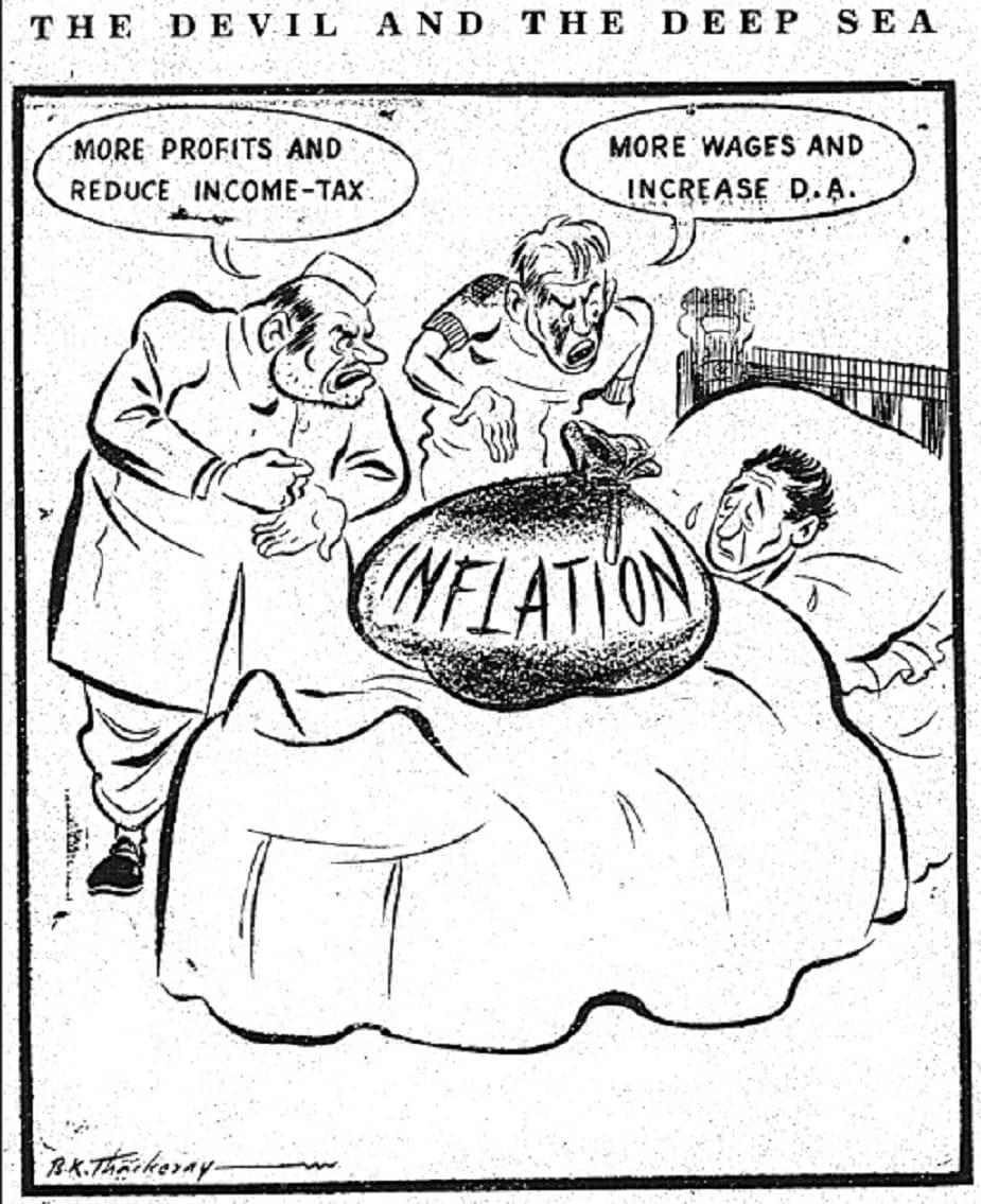२९ नोव्हेंबर १९४८ रोजी प्रकाशित झालेलं हे बाळासाहेबांनी काढलेलं व्यंगचित्र महागाईवर आसूड ओढणारं आहे.