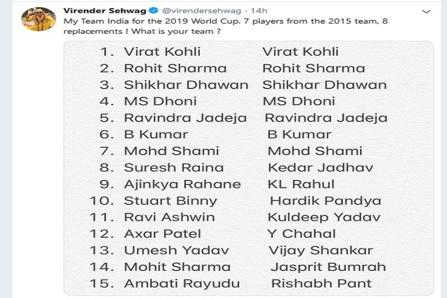 2015 मध्ये भारताचे नेतृत्व महेंद्रसिंग धोनीकडे होते मात्र, 2019 साठी संघाचा कर्णधार कोण याबाबत सेहवागने काही स्पष्ट केलेले नाही.