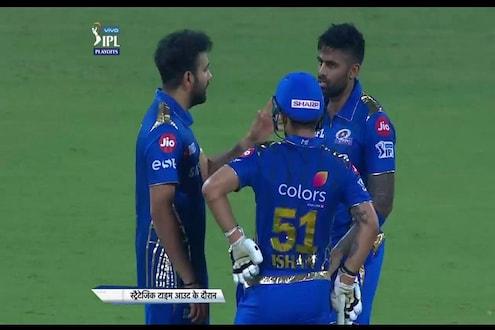 IPL 2019 : आऊट झाल्यानंतर रोहितची मैदानात एण्ट्री, धोनीही झाला शॉक