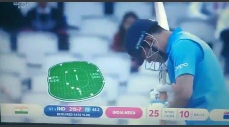 48 व्या षटकात धोनी फलंदाजी करत असताना 4 खेळाडू 30 यार्डच्या आत होते. पण धोनी बाद झाला त्याच्या एक चेंडू आधी फक्त 3 खेळाडू आत होते. त्यानुसार तो चेंडू नो बॉल होता. त्यामुळं ज्या चेंडूवर धोनी धावबाद झाला तो फ्रि हिट मिळाला असता.