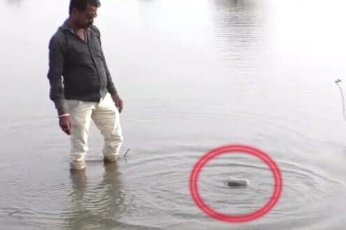 इथं चक्क पाण्यावरतरंगतो 'राम' लिहिलेला दगड, Video व्हायरल