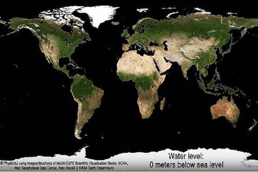 प्रथम चित्र: जेव्हा समुद्राचे पाणी सामान्य पातळीवर असते  या चित्रात आपल्याला सर्व देशांच्या चहूबाजुला समुद्र दिसतील. म्हणजेच समुद्राच्या पाण्याची पातळी कमी झालेली नाही. हे आपल्या पृथ्वीच्या सद्य स्थितीचे चित्र आहे.