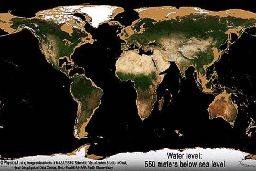 तिसरे चित्र: जेव्हा पाणी 550 मीटर खाली जाईल तेव्हा या चित्रात आपल्याला हे स्पष्टपणे दिसून येईल की सर्व खंड, उपखंडातील सगळ्यात जास्त भाग हा राखाडी क्षेत्र असेल. म्हणजे कोरड्या जमिनीचे क्षेत्र वाढेल. पाण्याची पातळी जवळ जवळ 550 मीटर खाली जाईल. रशिया, सायबेरिया, ग्रीनलँड. अंटार्क्टिका, उत्तर आणि दक्षिण अमेरिका, आफ्रिका, मध्य-पूर्व देश आणि ऑस्ट्रेलिया सर्वत्र पसरलेले महासागर जमिनीपासून दूर जाऊ लागतील.