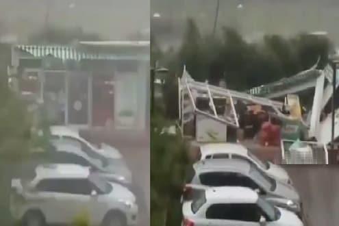 Amphan Cyclone : वादळात उडाली शेड आणि बराच वेळ उडत राहिल्या ठिणग्या, पाहा VIDEO