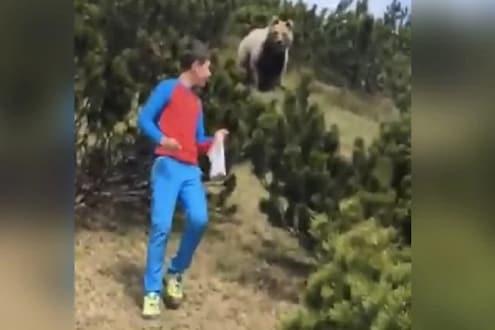 VIDEO : फोटो काढायला गेला मुलगा तर अचानक मागून आलं जंगली अस्वल आणि...