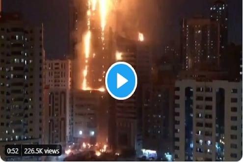 शारजाहच्या 48 मजली आलिशान इमारतीला भीषण आग, थरारक VIDEO आला समोर