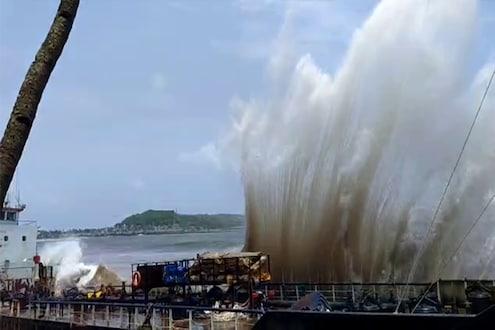 किनाऱ्यावर अडकलेल्या जहाजाची लाटांनी केली दैना, मोठ्या दुर्घटनेची भीती, पाहा हा VIDEO