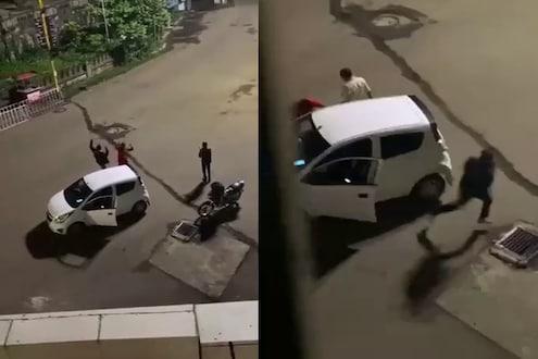 रस्त्यावर नाचत होते तिघे, कोल्हापूर पोलीस येताच दोघे पळाले अन् तिसऱ्याला बसला नादखुळा चोप, पाहा हा VIDEO