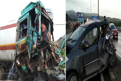 पंक्चर काढण्यासाठी उभ्या ट्रकमुळे 3 वाहनांचा विचित्र अपघात, पाहा हा VIDEO