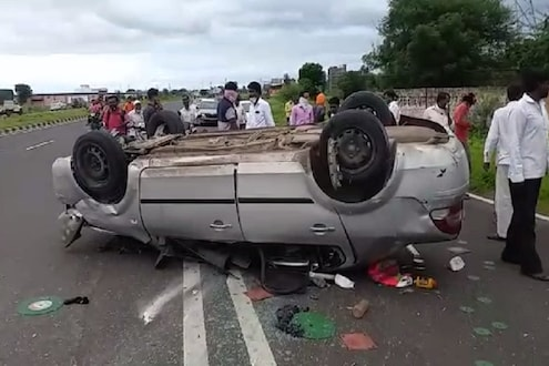 भीषण अपघात! कार डिव्हायडरला धडकून थेट राँग साईडला जाऊन पलटली, एकाचा मृत्यू