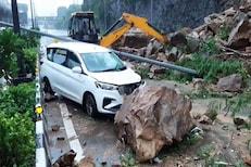 Mumbai rain Updates : थोडक्यात टळली दुर्घटना, दरड कोसळली आणि मारुतीची कार सापडली
