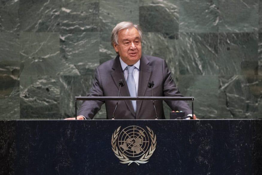 आसभेवेळी संयुक्त राष्ट्रसंघाचे सरचिटणीस (UN general secretary) अँटोनियो गुटेरेस यांनी प्रतिनिधींना मार्गदर्शन केलं (UN via AP)