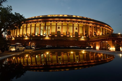 New Delhi: Parliament House illuminated,  during the ongoing Budget Session, in New Delhi, Monday, March 23, 2020. Both Houses of the Parliament on Monday adjourned sine die, 12 days ahead of its scheduled closure aimd the novel coronavirus (Covid-19) outbreak in the country. (PTI Photo/Manvender Vashist)(PTI23-03-2020_000275B)