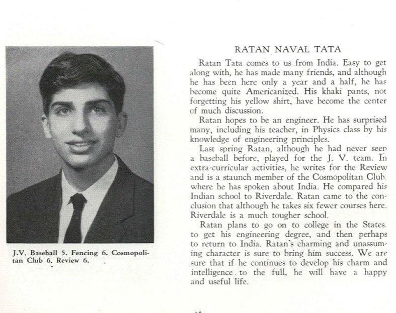 मुंबई आणि शिमलामध्ये शिक्षण पूर्ण केल्यानंतर रतन टाटा (Ratan Tata) यांनी 1955 मध्ये न्यूयॉर्क शहर (New York City) मधील रिवरडेल कंट्री स्कूल (Riverdale Country School) मधून आपलं शालेय शिक्षण पूर्ण केलं. गुरुवारी 82 वर्षीय रतन टाटा (Ratan Tata) यांनी #ThrowbackThursday हैशटेग सह आपल्या शाळेतील काही फोटो शेअर केले.