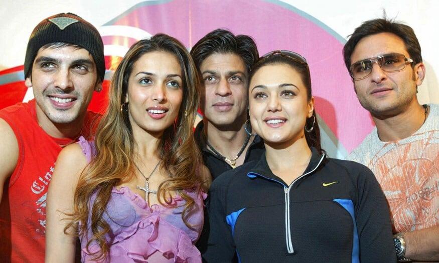 झाएद खान, मलायका अरोरा, प्रीती झिंटा आणि शाहरुख खान. (Image: AFP)