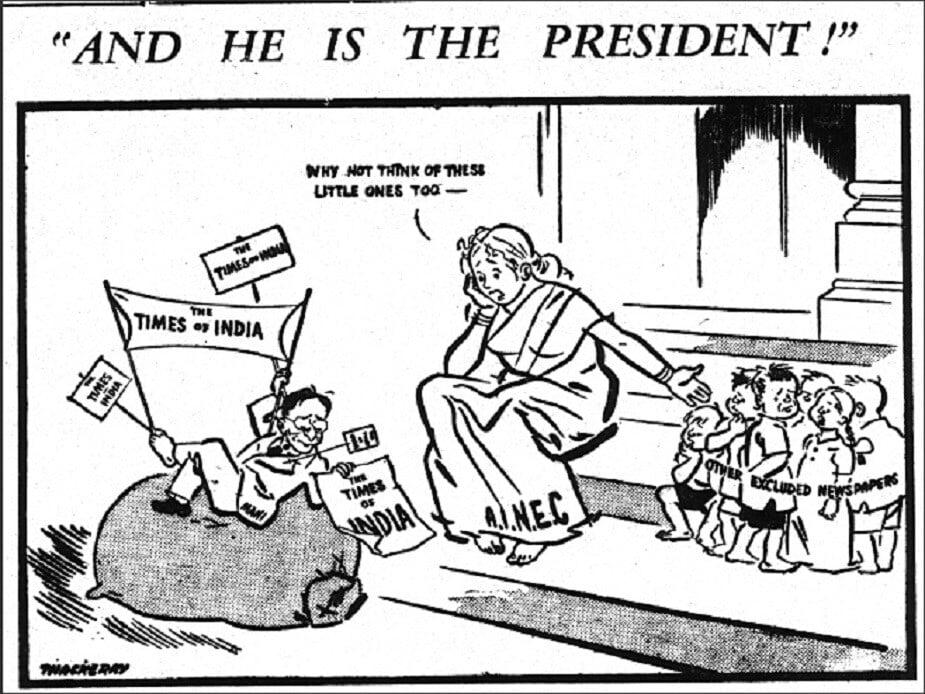 बाळासाहेबांनी मुंबईतील द फ्री प्रेस जर्नल या इंग्रजी वर्तमानपत्रामध्ये व्यंगचित्रकार म्हणून आपल्या पत्रकारितेला सुरुवात केली. त्यांनी इतर वृत्तपत्रांसाठी मुक्त पत्रकार म्हणूनही काम केलं. बाळासाहेबांनी 1953 मध्ये टाइम्समध्ये काढलेलं व्यंगचित्र.