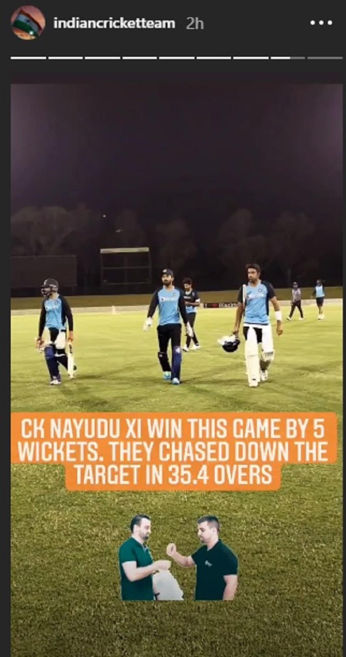 तीन वनडे, तीन टी-20 आणि चार टेस्ट मॅचच्या सीरिजआधी टीम इंडियाने ऑस्ट्रेलियात रविवारी इंन्ट्रा स्क्वॉड सराव सामना खेळला. सीके नायुडू टीमचं नेतृत्व विराट कोहलीने तर रणजीत सिंहजी टीमचं नेतृत्व केएल राहुलने केलं.