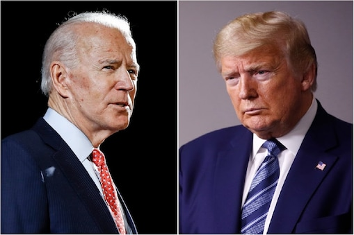 FILE - In this combination of file photos, former Vice President Joe Biden speaks in Wilmington, Del., on March 12, 2020, left, and President Donald Trump speaks at the White House in Washington on April 5, 2020. The level of inconsistency and chaos surrounding Trump's coronavirus response is reaching new heights, as Democrats show new signs of unifying behind presumptive presidential nominee Biden. (AP Photo, File)