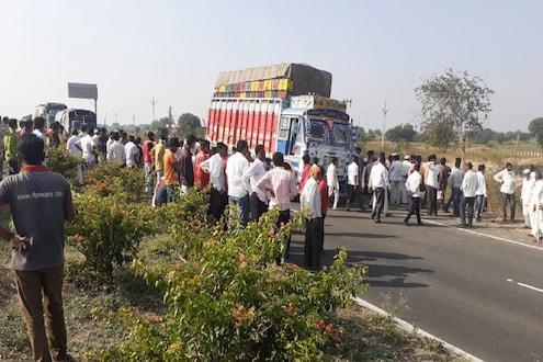बीडमध्ये भीषण अपघात, भरधाव ट्रकनं बळीराजासह 2 म्हशींना चिरडलं