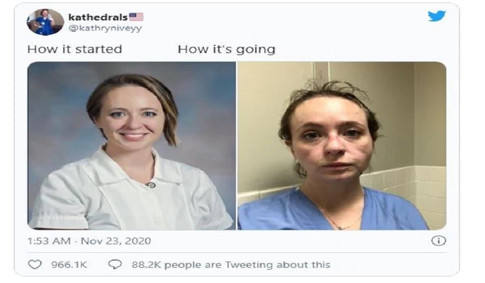 नर्सनं आपलं ट्वीटर अकाऊंट @kathryniveyy वर हा फोटो शेअर केला आहे. आपला 8 महिन्यांपूर्वी आणि आताचा फोटो शेअर करत आपली कशी अवस्था झाली आहे हे तिनं दाखवून दिलं.
