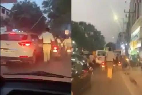 सॅल्युट! रुग्णवाहिकेत तडफडत होता जीव; वाचवण्यासाठी ट्रॅफिकमध्ये धावत सुटला पोलीस; VIDEO VIRAL