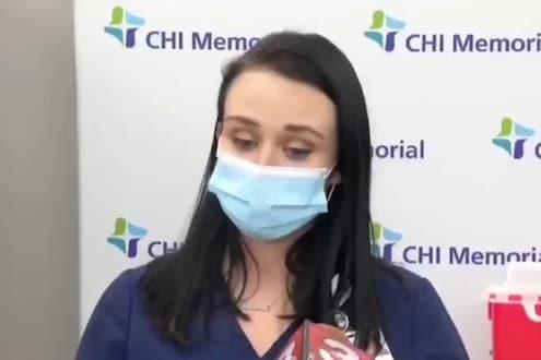 ...आणि कोरोनाची लस घेताच काही मिनीटात ती पडली बेशुद्ध, VIDEO VIRAL