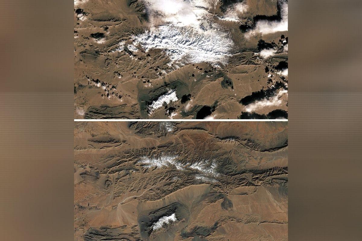 सहारा वाळवंटात हिमवर्षाव- सहारा वाळवंटात बर्फ पडण्याची कल्पना देखील कुणी करू शकत नाही. पण बदलत्या तापमानामुळे 2016 ला या ठिकाणी मोठ्या प्रमाणात बर्फवृष्टी झाली होती. नासाच्या या फोटोत आपल्याला बर्फवृष्टी झाल्यानंतर आणि बर्फ वितळल्यानंतरची स्थिती दिसून येत आहे. भयंकर तापमान असून देखील या ठिकाणी झालेली बर्फवृष्टी दीर्घकाळ याठिकाणी होती.(फोटो: boredpanda.com)
