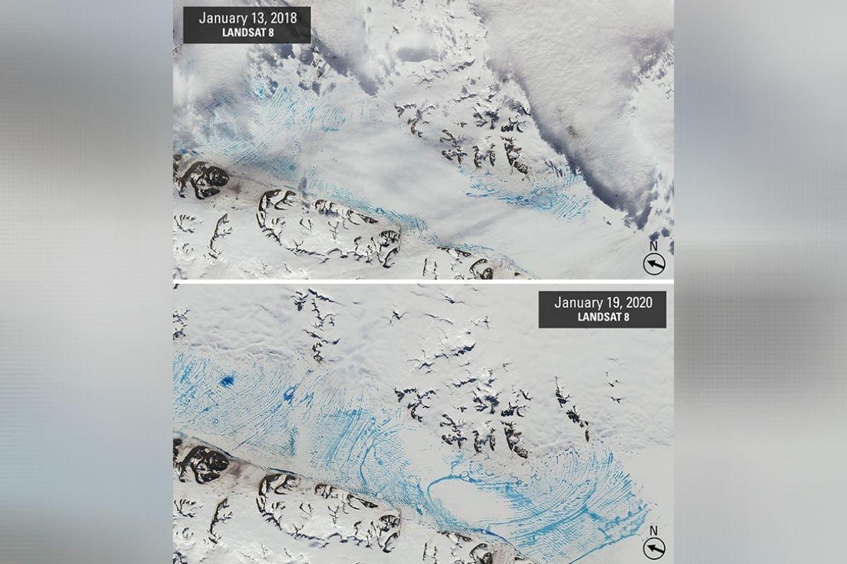 अंटार्टिकामध्ये पाण्याचा वाढता स्तर - तापमानवाढीमुळे अंटार्टिकामधील हिमनगांना मोठा धोका निर्माण झाला आहे. हे हिमनग मोठ्या प्रमाणात वितळत असून यामुळे येथील पाण्याच्या पातळीत वाढ होत आहे. या फोटोमध्ये आपल्याला निळ्या भागामध्ये वाढते पाणी दिसून येत आहे.त्याचबरोबर 2 वर्षांमधील पाण्याचा वाढलेला स्तर देखील दिसून येत आहे. (फोटो: boredpanda.com)