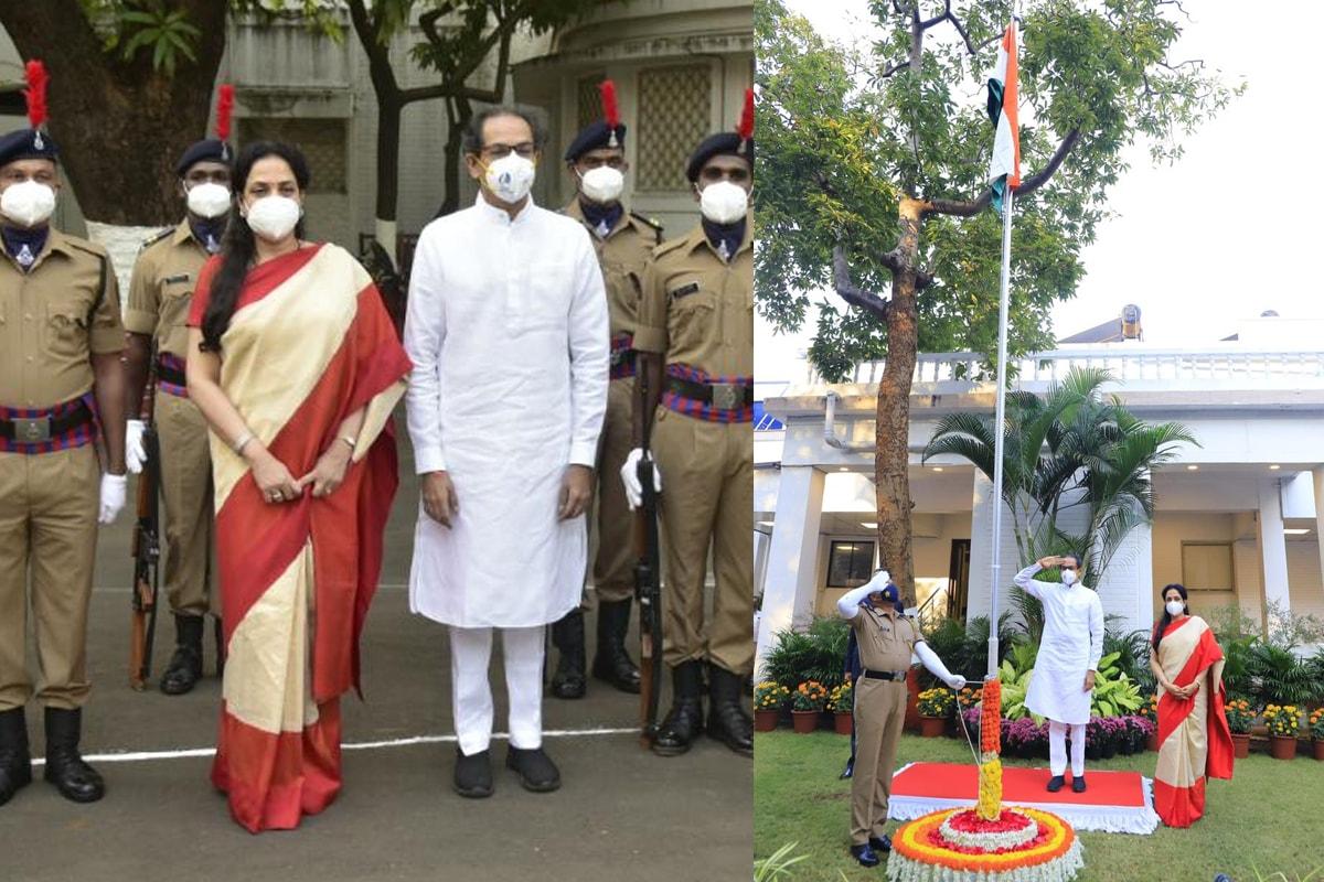 प्रजासत्ताक दिनानिमित्त मुख्यमंत्री उद्धव ठाकरे यांनी आज वर्षा निवासस्थानी ध्वजारोहण करून वंदन केले.