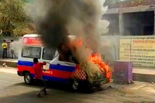 Amravati News : रुग्णाला घेऊन जात असताना अचानक घेतला रुग्णवाहिकेनं पेट, अमरावतीतील घटना