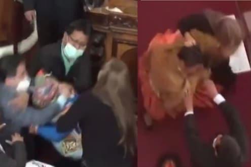 अरे बापरे! संसदेतच रंगला कुस्ती आखाडा, खासदारांच्या तुफान हाणामारीचा VIDEO VIRAL