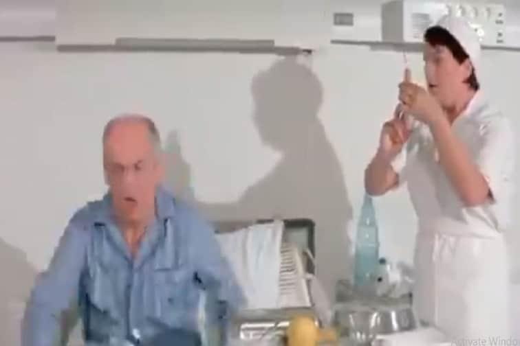 इंजेक्शनच्या भीतीने पळत सुटले आजोबा; मग नर्सने काय केलं ते तुम्हीच पाहा VIDEO