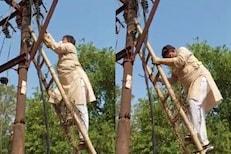 वारंवार जात होती वीज, शेवटी तपास करण्यासाठी ऊर्जा मंत्रीच चढले खांबावर आणि...