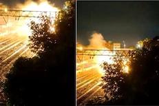 क्षणार्धात आगीनं धारण केलं रौद्ररुप; रेल्वे स्टेशनवरील थरारक घटनेचा VIDEO